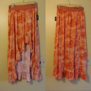 POOF JUNIOR HIGH LOW TIE- DYE RUFFLE SKIRT SIZE M